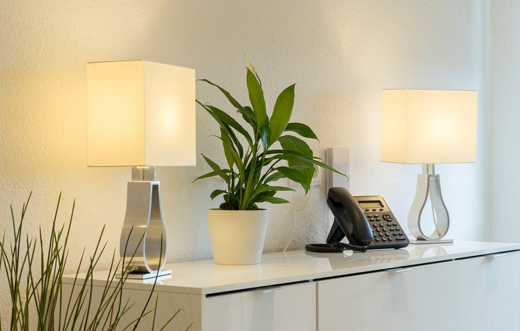 Telefon mit Festnetzflatrate auf Sideboard| Superior Boarding Apartment Waldstadt Immobilien Halle Saale Peißen