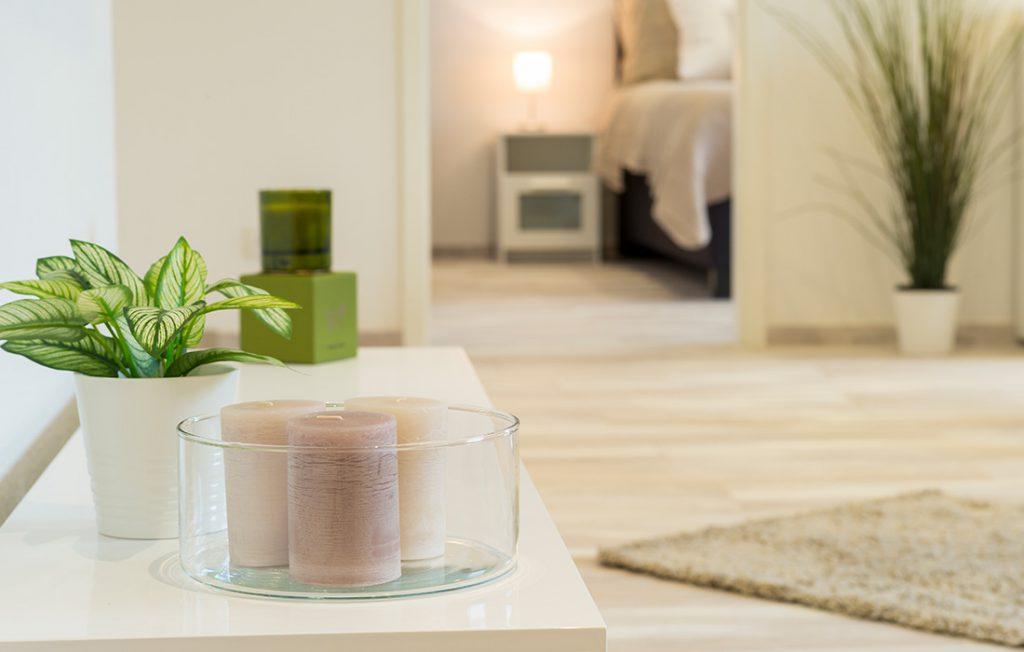 Dekoration im großzügigen Wohnbereich | Superior Boarding Apartment Waldstadt Immobilien Halle Saale Peißen