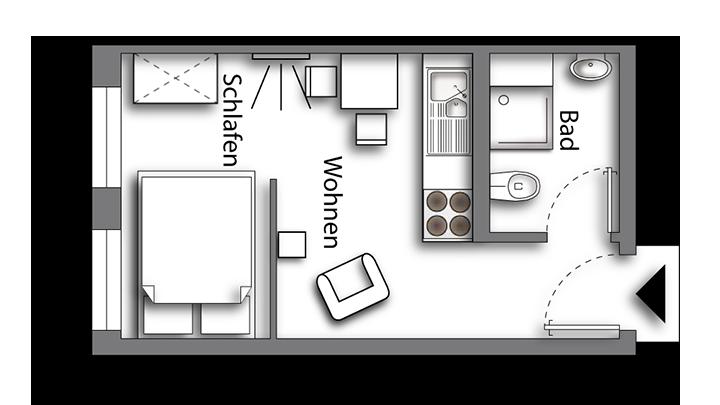 Grundriss möbliertes Apartment Classic Boarding | Waldstadt Immobilien Halle Saale Peißen
