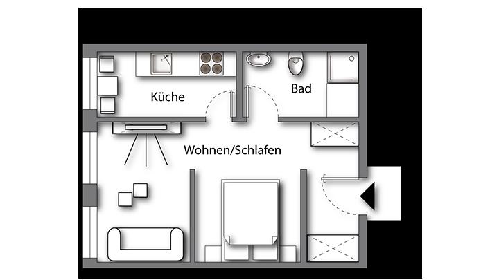 Grundriss möbliertes Apartment Deluxe Boarding | Waldstadt Immobilien Halle Saale Peißen
