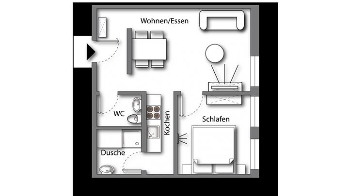 Grundriss möbliertes Apartment Premium Boarding | Waldstadt Immobilien Halle Saale Peißen