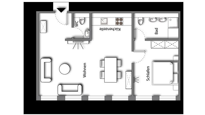 Grundriss möbliertes Apartment Superior Boarding | Waldstadt Immobilien Halle Saale Peißen