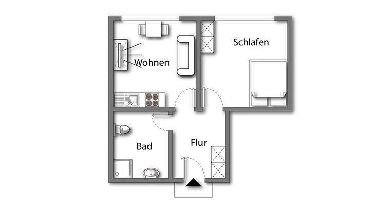 Grundriss 16:9 Apartment Premium Boarding | Waldstadt Immobilien Halle Suedstadt